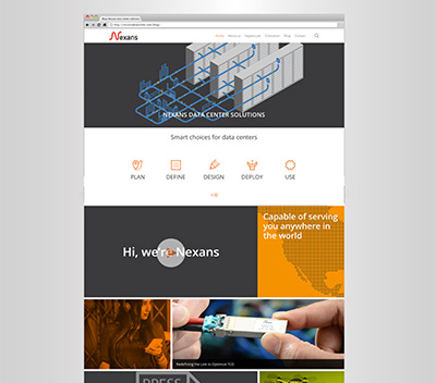 website for Nexans Datacenter solutions made by Living Stone